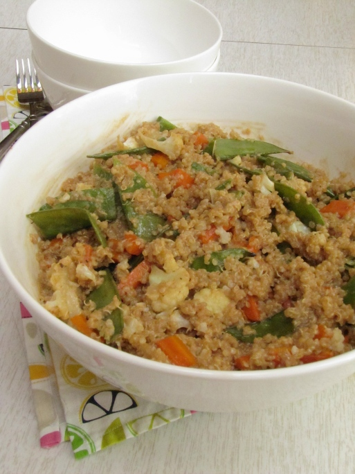 Quinoa with roasted veggies with peanut sauce