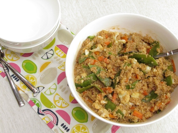 Quinoa with roasted veggies with peanut sauce2