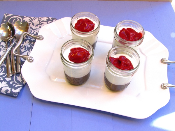 Milk Chocolate Pudding with Raspberry Sauce